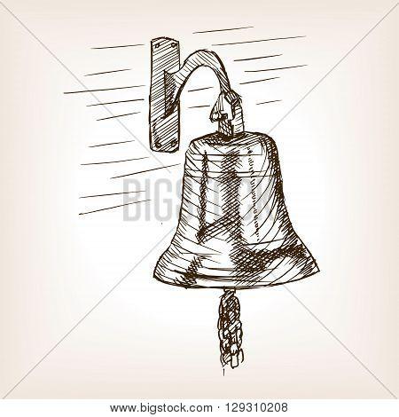 Ship bell sketch style vector illustration. Old engraving imitation.