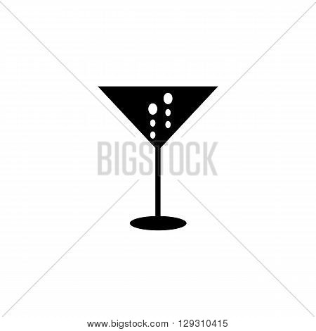 Alcohol drink in glass vector illustration, glass black flat icon, party drink with bubbles illustration, champagne in glass vector icon, black and white illustration for bar or nightclub, party icon