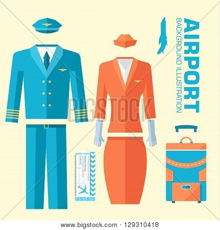 Airplane Pilot And Stewardess Uniform On Flat Style Background Concept. Vector Illustration For Colo
