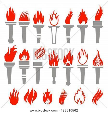 Set of Torch Icon Isolated on White Background