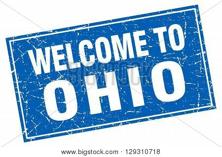 Ohio blue square grunge welcome to stamp