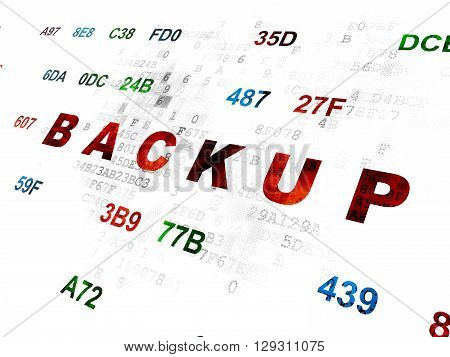 Database concept: Pixelated red text Backup on Digital wall background with Hexadecimal Code