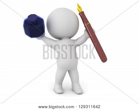 3D Character Holding Up Ink Pot And Fountain Pen