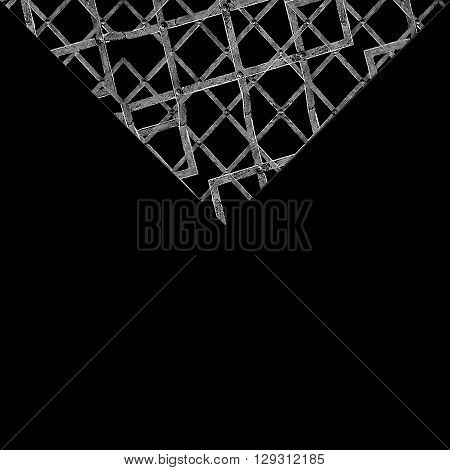 Black Background With Geometric Grunge Texture Triangle Borders
