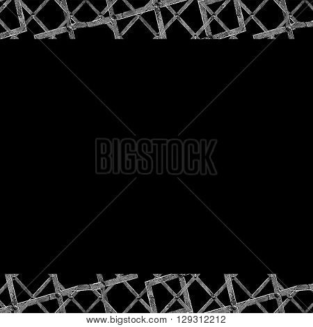 Black Frame With Geometric Grunge Texture Borders