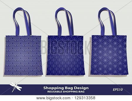 Sea Shell & Coral pattern shopping bag design vector template in indigo. Reusable bag set vector template. Original Shell & Coral patterns are complete, masked. Summer sea beach souvenir. Shell icon. Editable