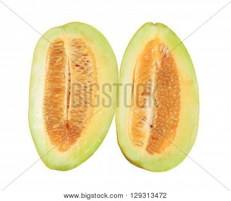 thai cantaloupe melon isolated on white background with clipping path