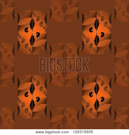 Abstract geometric seamless background. Regular rectangles pattern with spiral elements in orange, terracotta, ocher and brown shades with black elements, modern and stylish.