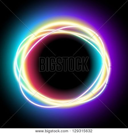 Neon oval. Neon purple light. Vector electric frame. Vintage frame. Retro neon lamp. Space for text. Glowing neon background. Abstract electric background. Neon sign circle. Glowing electric frame