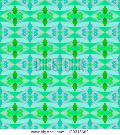 Abstract geometric seamless background. Regular diamond pattern bright green with wavy pattern light blue and turquoise elements on blue gray.