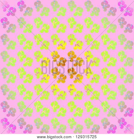 Abstract geometric multicolored background, delicate and centered. Seamless pattern in orange, yellow, lime green and violet on pink.