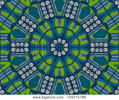 Abstract geometric seamless background. Concentric circle ornament with bright green elements, blue shades and white spiral pattern with black outlines, drawing.
