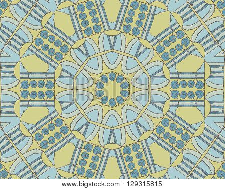 Abstract geometric seamless background, drawing. Concentric circle ornament with dark gray spiral pattern and elements in light gray, light blue and yellow.