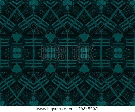 Abstract geometric seamless background, drawing. Regular symmetric seamless pattern with spirals and triangles dark green on black with green outlines.