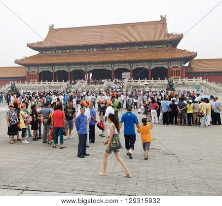 BEIJING, CHINA - AUGUST 18: visit on August 18, 2008 in Beijing: A multitude of tourists visit Forbidden City.