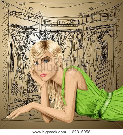 Vector fashion blonde in green dress lies on a floor