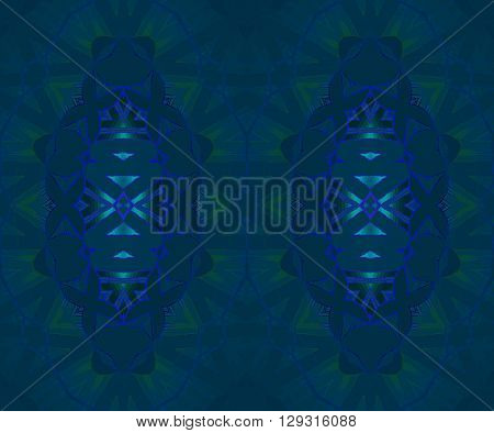Abstract geometric dark background. Seamless ellipses pattern dark blue and dark green with elements in purple an light blue.