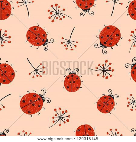 Ladybugs seamless pattern. Cute ladybirds and branches on pink background.
