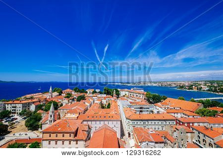 Sunny Summer Day Above Old Town Of Zadar. Panoramic View From The Height At Center Of Zadar And Red