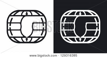 Vector chip card icon. Two-tone version on black and white background