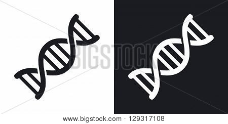 Vector DNA icon. Two-tone version on black and white background
