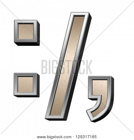 Colon, semicolon, period, comma from brushed copper with silver frame alphabet set, isolated on white. 3D illustration.