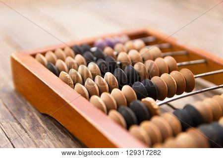 An old wooden abacus on wood background