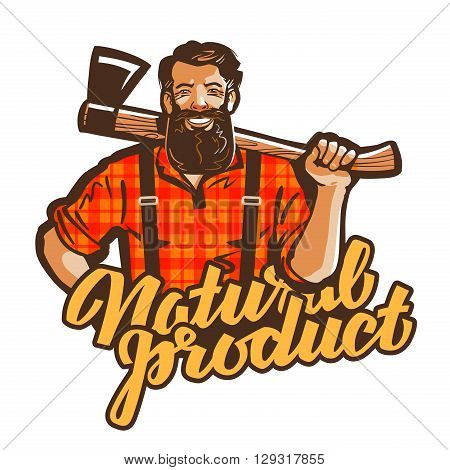 woodcutter, lumberjack vector logo. joiner or carpenter icon