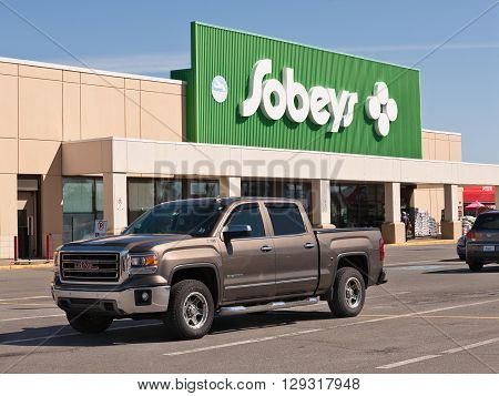 WINDSOR CANADA - MAY 01 2016: Sobeys Inc. is Canada's second largest food retailer with more than 1500 supermarkets and a number of banners. Sobeys is headquartered in Stellarton Nova Scotia and operates in all Canadian provinces.