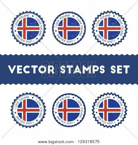 I Love Iceland Vector Stamps Set. Retro Patriotic Country Flag Badges. National Flags Vintage Round