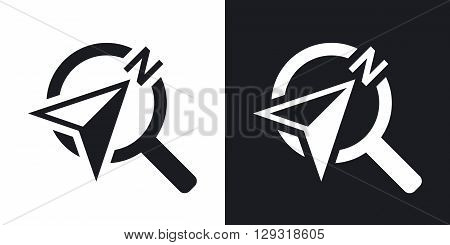 Vector compass concept icon. Two-tone version on black and white background