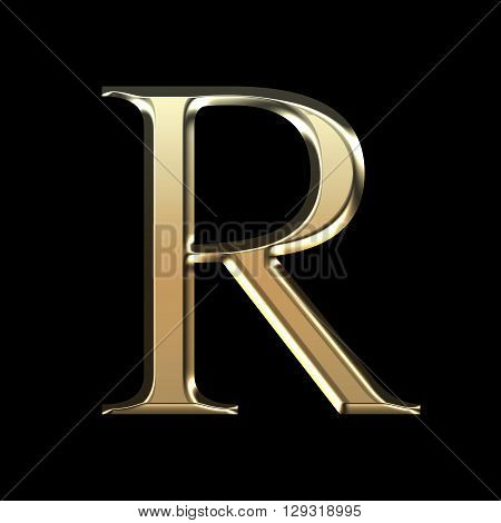 Golden Matte Letter R, Jewellery Font Collection.