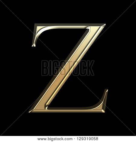 Golden Matte Letter Z, Jewellery Font Collection.