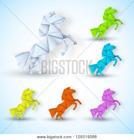 New Year Horse Background Concept. Vector Illustration