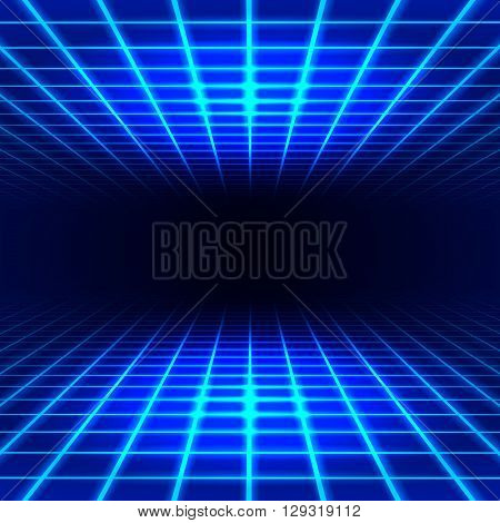 Blue dimensional grid space tunnel floor and ceiling