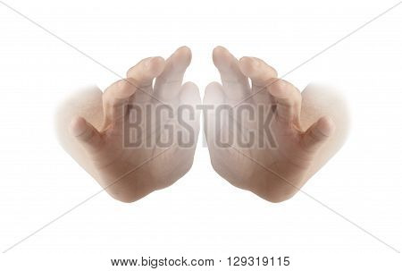 Healing Hands on white background - female hands with palms facing outwards and a white energy orb between isolated on a white background