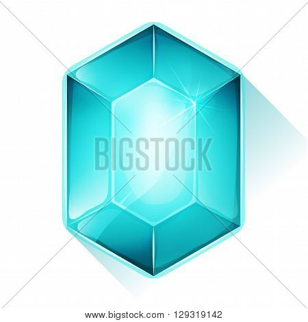Illustration of a beautiful glossy and bright cartoon gemstone blue colored for jewel imagery and assets in game user interface