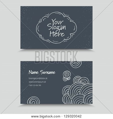 Visit Card with hand drawn abstract elements. Hand Drawn Business Card Design.