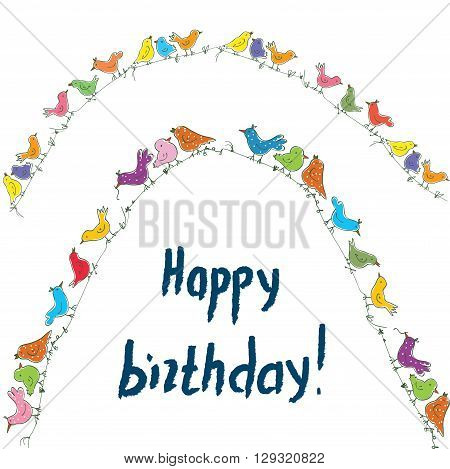 Happy birthday birds card with unusual funny design. Vector illustration