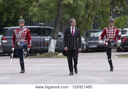 Sofia Bulgaria - May 10 2016: President of the Republic of Bulgaria and Commander-in-Chief of the Bulgarian Army Rosen Plevneliev visit the National Guards Unit. Photo taken May 10 2016.