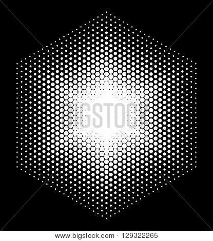Halftone design elements hexagon, logo, halftone background. Shapes, abstract shapes, shapes icons. White icon on black background vector illustration