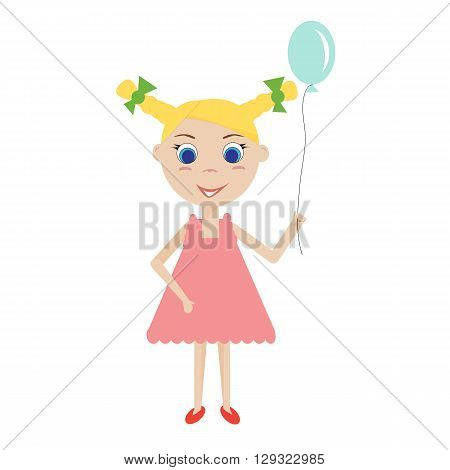 Isolated glad young blond girl with a blue balloon. The girl in a pink dress. Vector flat illustration.