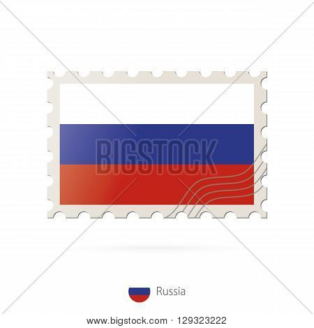 Postage Stamp With The Image Of Russia Flag.