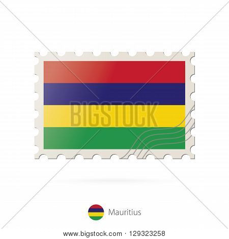Postage Stamp With The Image Of Mauritius Flag.