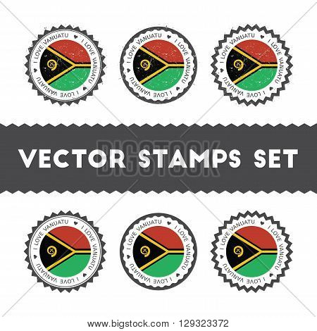 I Love Vanuatu Vector Stamps Set. Retro Patriotic Country Flag Badges. National Flags Vintage Round