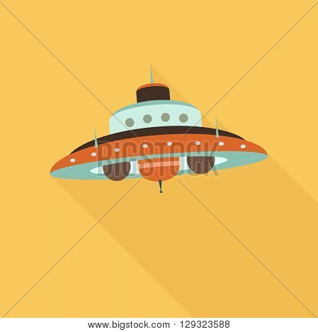 Space ufo flat icon with shadow in orange color