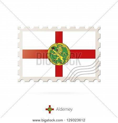 Postage Stamp With The Image Of Alderney Flag.
