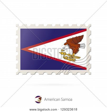 Postage Stamp With The Image Of American Samoa Flag.