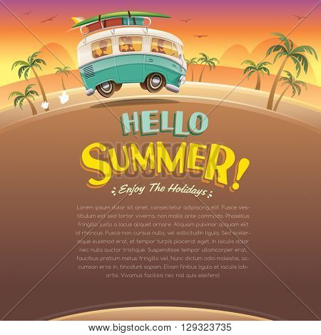 Hello summer! Camper van. Summer vacation. Wide copy space for text.