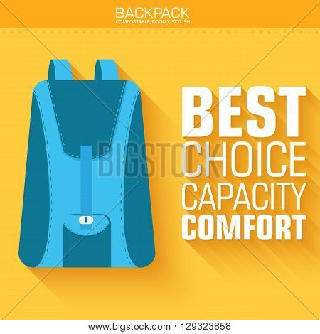 Flat Schoolbag On The Background With The Slogan. Vector Illustr